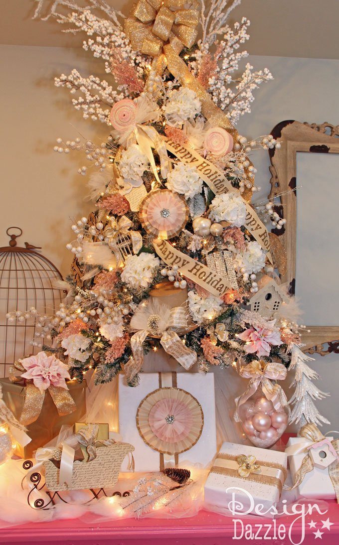 Shabby Chic Christmas Tree designed by Toni Roberts of Design Dazzle. Touches of cream, tan, pink and gold with handcrafted ornaments make this a sweet chic tree. This tree was painted with craft paint!