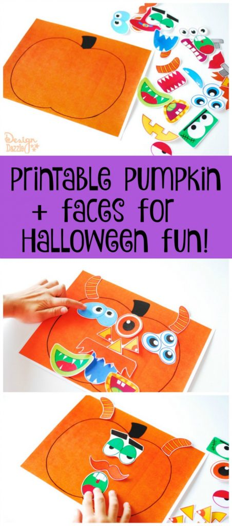 Printable pumpkin + faces for Halloween fun!
