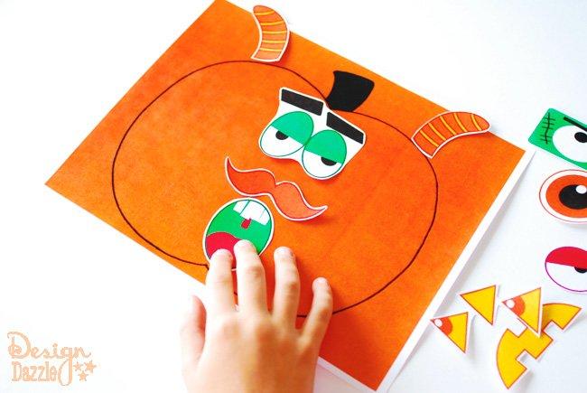 Fun Halloween activity - pumpkin face cutouts for kids