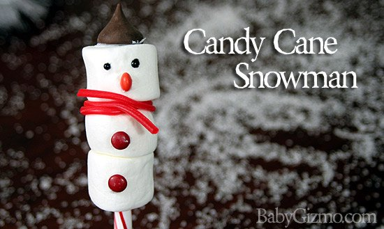 Marshmallow / Candy Cane Snowman! Delicious Christmas Craft for kids!