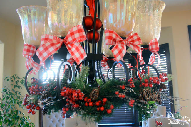 chandelier with christmas decor - How To Decorate A Chandelier For Christmas