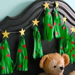 Christmas Tree Tissue Tassel Garland