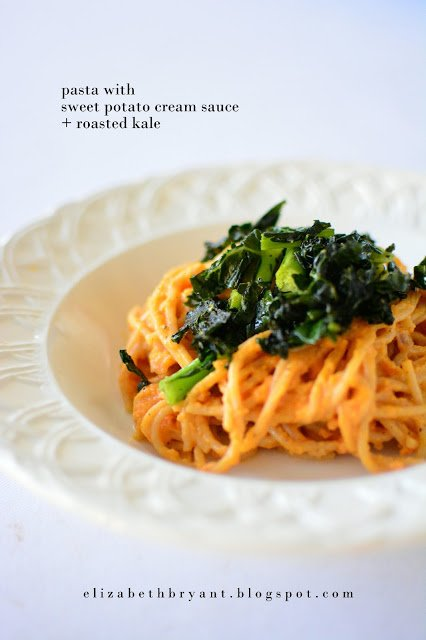 Pasta with Sweet Potato Cream Sauce. Healthy Dinner for a healthy new you!