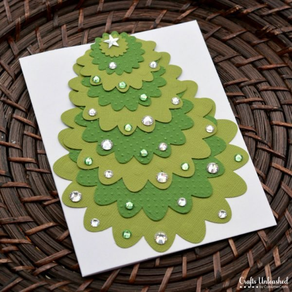 Handmade Christmas Cards with a die cut and some bling!