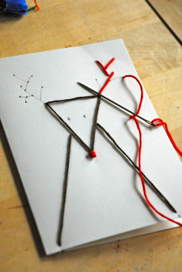Hand Stitched Reindeer Cards!