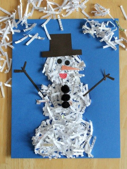 Shredded Paper Snowman! DIY Christmas Craft for kids!