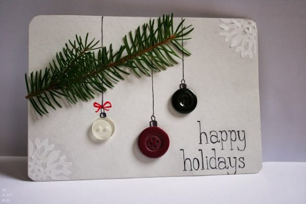 Pine Sprig and Buttons! Darling homemade Christmas Cards!