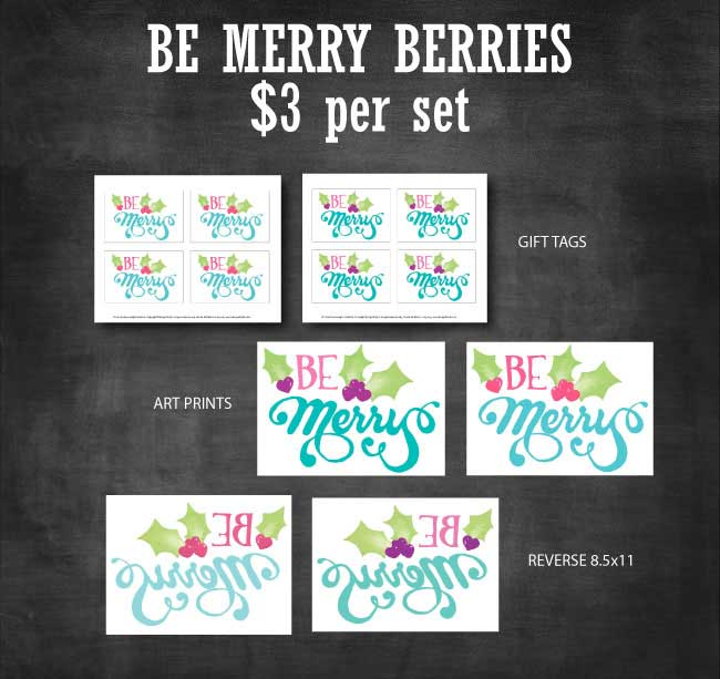 Be Merry Berries Printable Set available to purchase at www.designdazzle.com