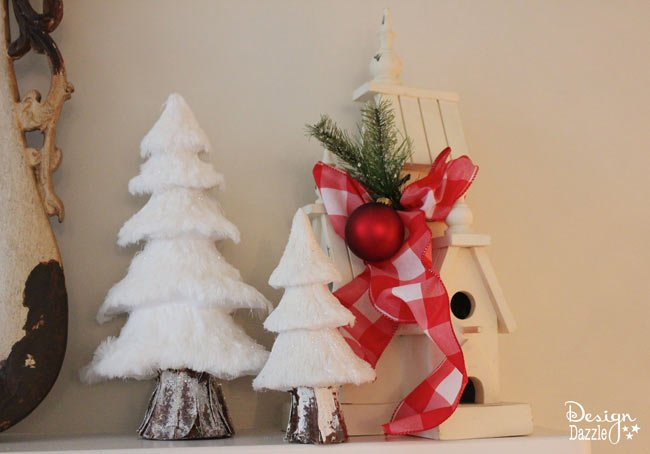 This Festive Wooden Birdhouse Looks Like The Perfect Holiday Decoration For  Any Mantel. It Adds Cozy Detail Along With The Frosted Pine Trees.  Repurposed ...