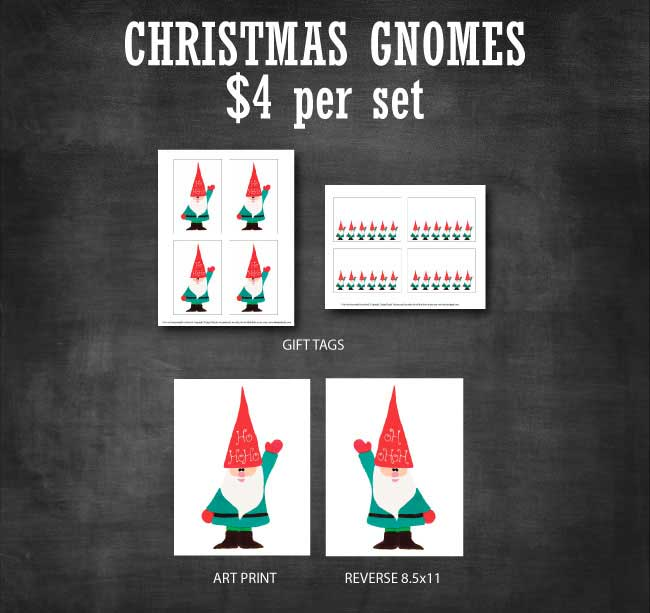 Christmas Gnomes Printable Set available at www.designdazzle.com