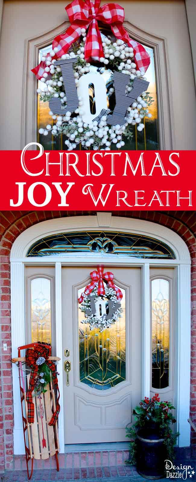 DIY Joyful Christmas Wreath Idea by Toni Roberts