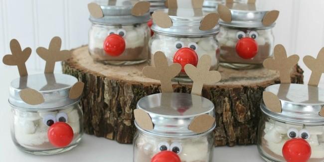 hot cocoa reindeer jars
