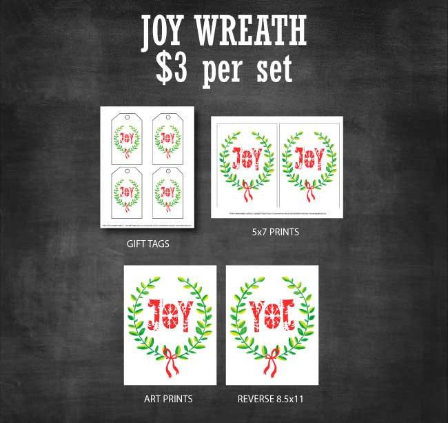 Joy Wreath Printable Set available at www.designdazzle.com