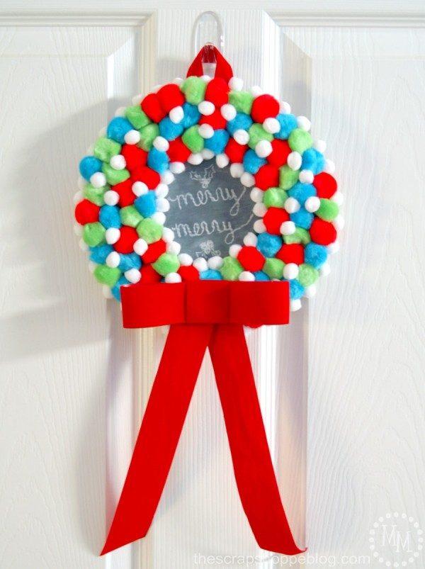 christmas ideas for kids - kids pom pom wreath
