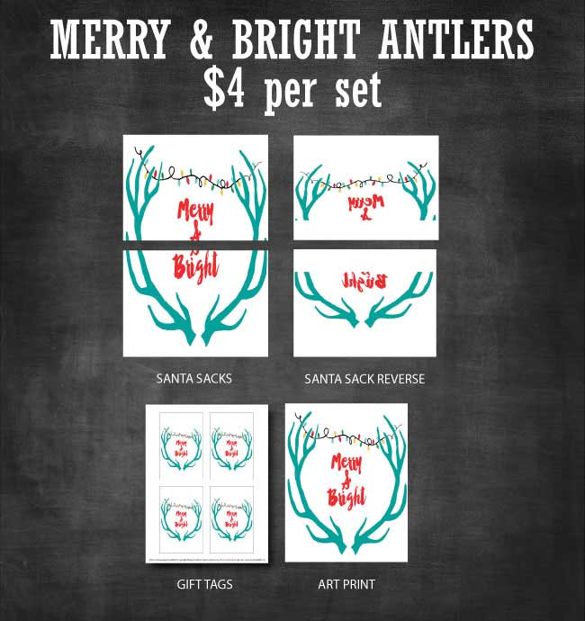 Merry & Bright Antlers Printable Set available to purchase at www.designdazzle.com