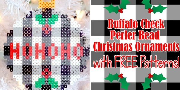 Trendy Buffalo Check Perler Bead Christmas Ornaments with FREE Patterns!