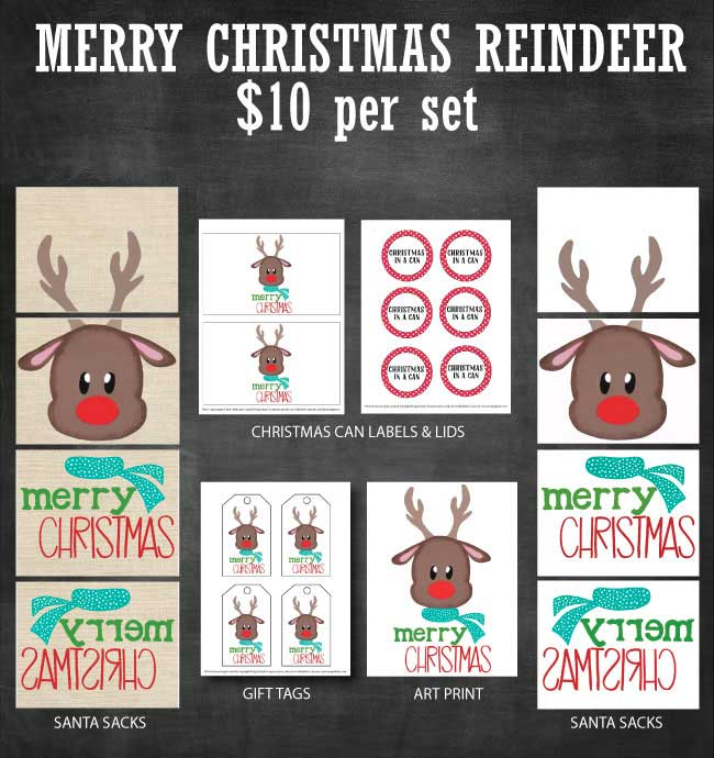 Merry Christmas Reindeer Printable Set available at www.designdazzle.com