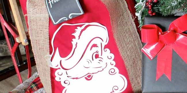 This Santa Sack is made out of curtains!! It is easy to make and perfect for wrapping gifts or starting a new Christmas tradition. Design Dazzle