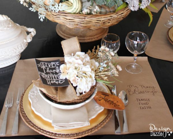 Succulents, ornamental cabbages, winter squash used with neutrals and a touch of glitz to create a stunning Thanksgiving tablescape. Free printable - Give Thanks. Design Dazzle