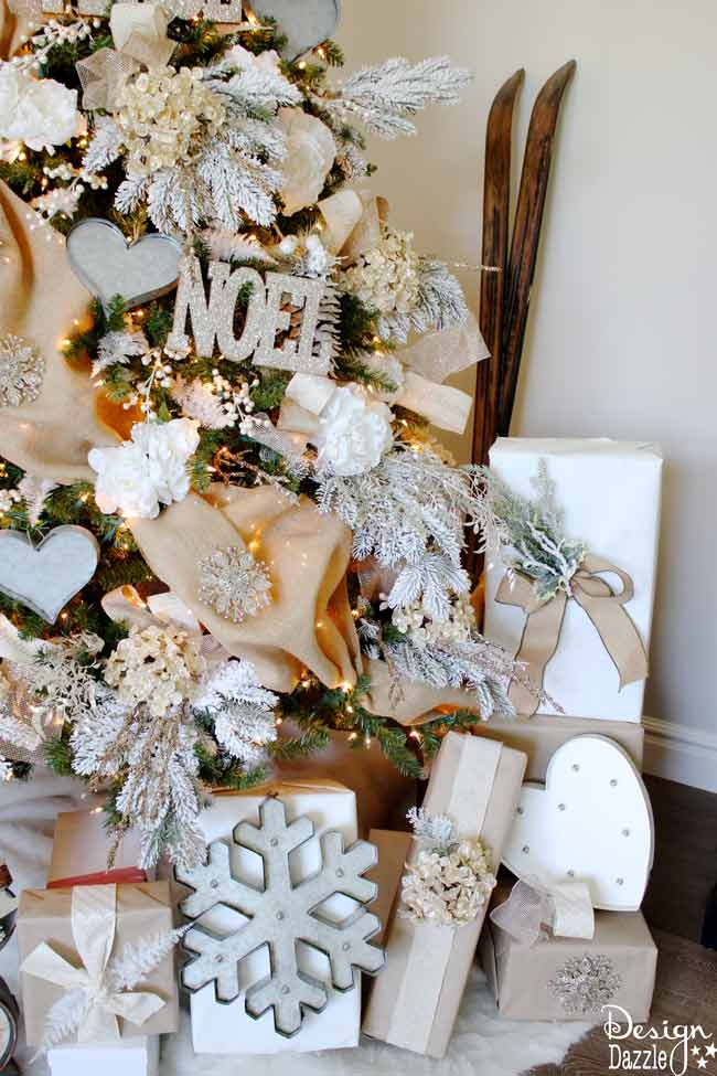 Winter Wonderland Glam Christmas Tree designed by Toni Roberts of Design Dazzle. Snow tipped branches, gold hydrangeas, white roses, lots of bling and touches of galvanized metal create this Winter Wonderland Glam Tree. #MichaelsMakers