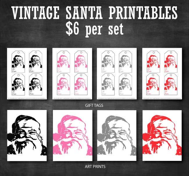 Vintage Santa Printable Tags & Prints available at www.designdazzle.com
