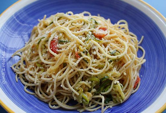 Angel Hair with Zucchini and Tomatoes for a healthy dinner.