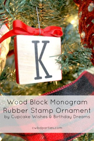 DIY Wood Block Rubber Stamp Ornament
