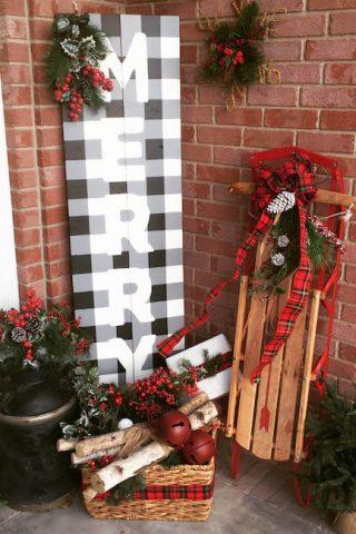 Christmas Buffalo Check Sign