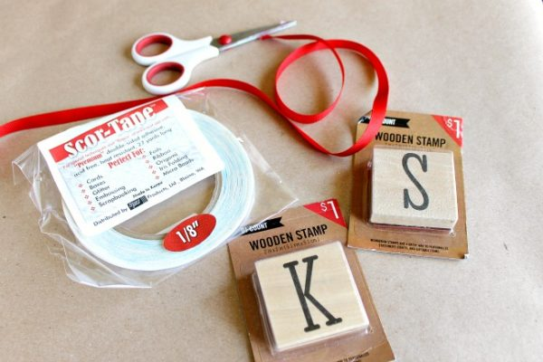 Supplies to make a wood block stamp ornament