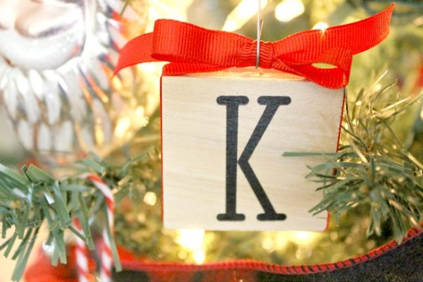Wood Block Rubber Stamp Ornament
