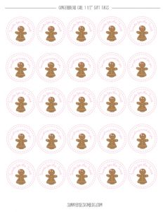 Gingerbread girl gift-tags