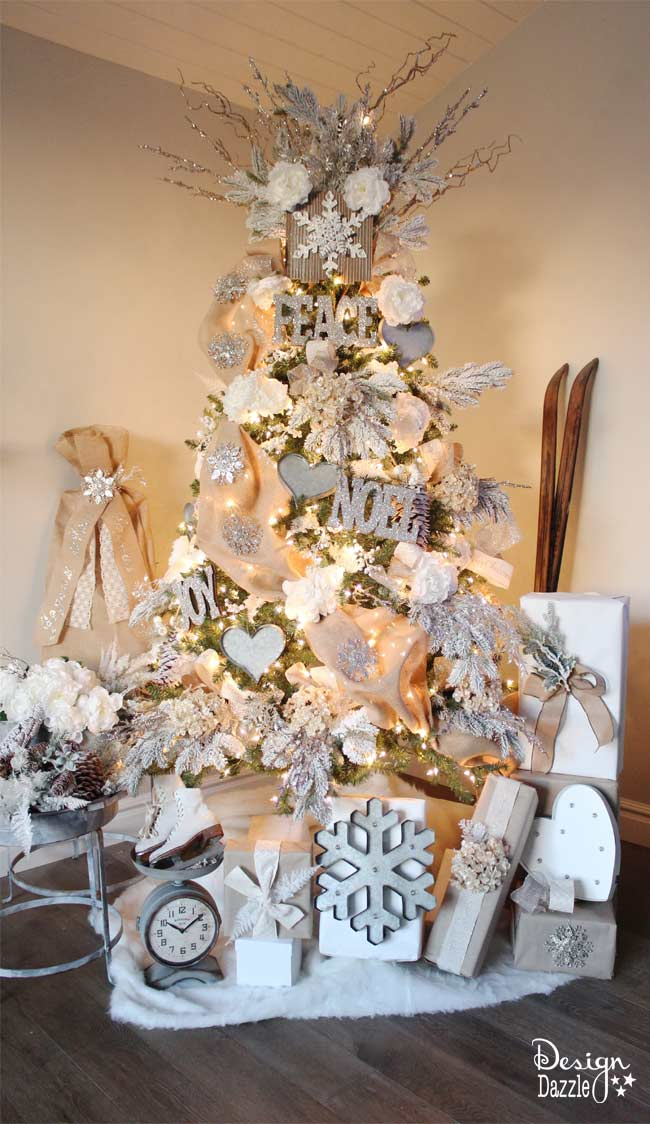 design dazzle christmas decor tip coordinate your christmas tree and gift wrap for a more this is my winter wonderland