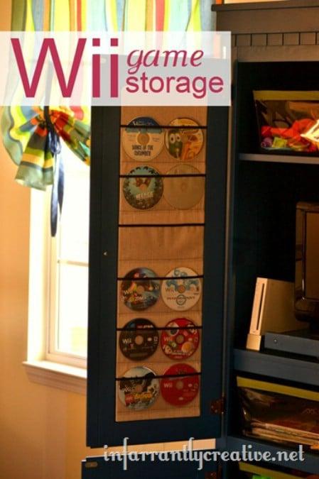 game storage in an old dorm fridge