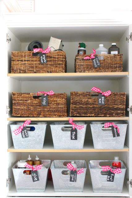 Organization challenge - use baskets and bins along with chalkboard tags to get organized!