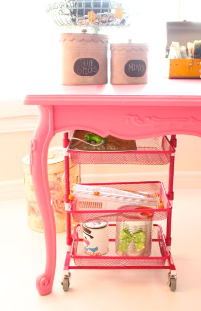 Organization challenge - use a rolling cart to get the craft room organized!