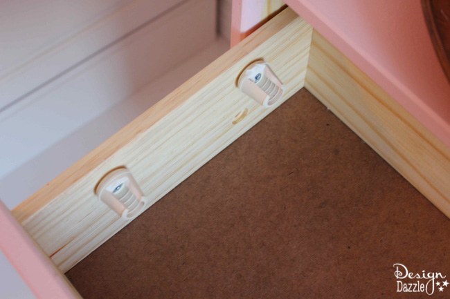 IKEA Rast Hack ribbon organizer using rubber chair tips. Design Dazzle