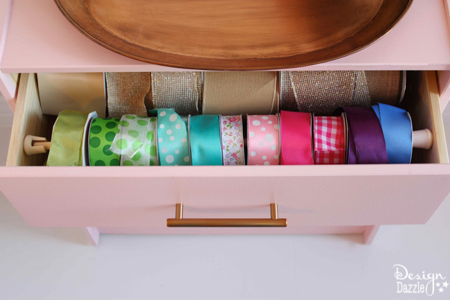 Use a Rast dresser to create a simple hack: RIBBON ORGANIZER!! Super easy and super cute. It's even on caster wheels so I can roll it under my craft table! Design Dazzle