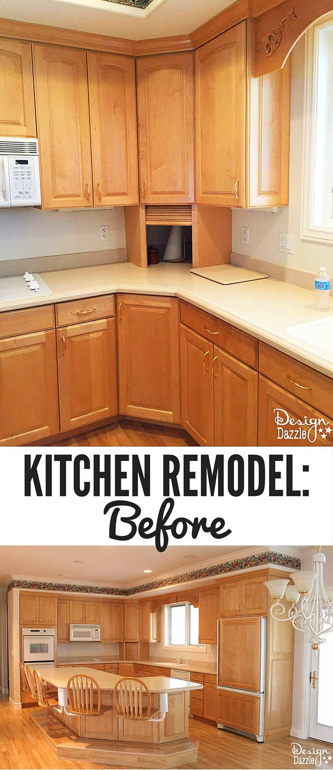 Check out my kitchen remodel before pictures! See how I transformed this dated kitchen into the kitchen of my dreams! |Design Dazzle