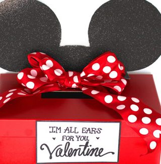 Mickey and Minnie Mouse Valentine Card Box + Free Printable