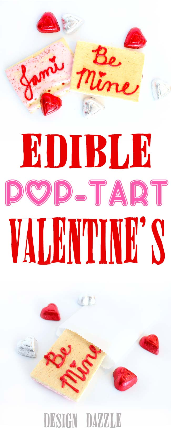 Use Pop-Tarts to create edible no-bake Valentine's. Easy and fun to make for your kids or with your kids! This frosting hardens so you can place the Valentine inside a bag. Design Dazzle