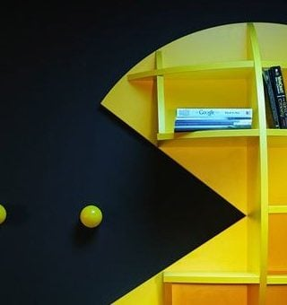 pacman bookshelf- perfect for gaming storage!