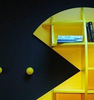 pacman bookshelf- perfect for gaming storage!