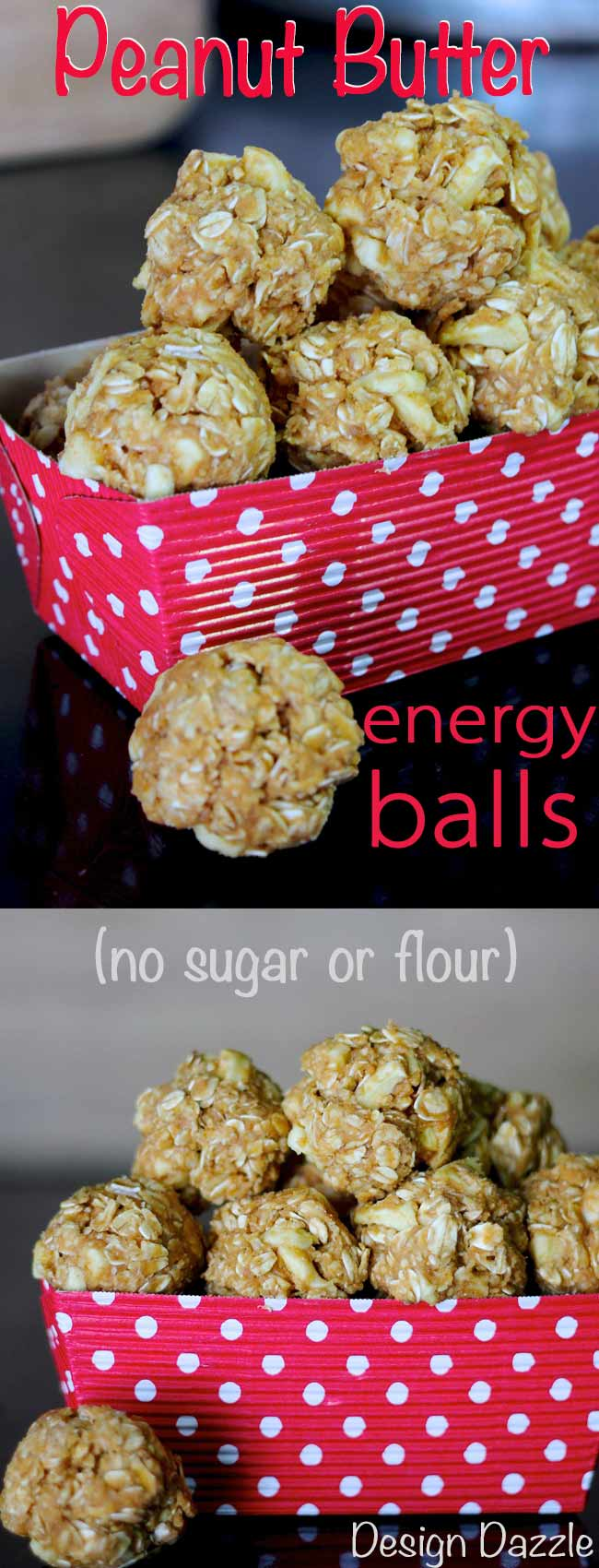Peanut Butter Oatmeal Energy Balls are quite delicious. They are quick and easy to make! This no bake recipe has no flour or sugar, but full of protein. Perfect for healthy snacks on the go. #health #healthysnacks || Design Dazzle