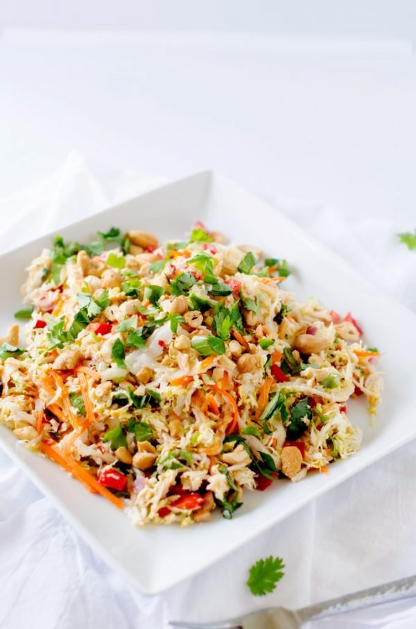Thai Chicken Salad with Ginger Lime Dressing from Wendy Polisi.