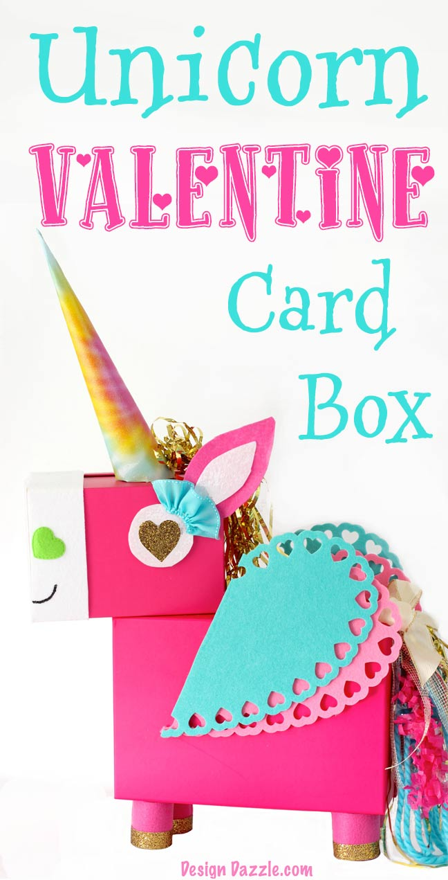 This Unicorn Valentine Card Box DIY project is a fun whimsical twist on a classic valentines card holder! This Unicorn just makes me smile! Step by Step instructions on Design Dazzle.