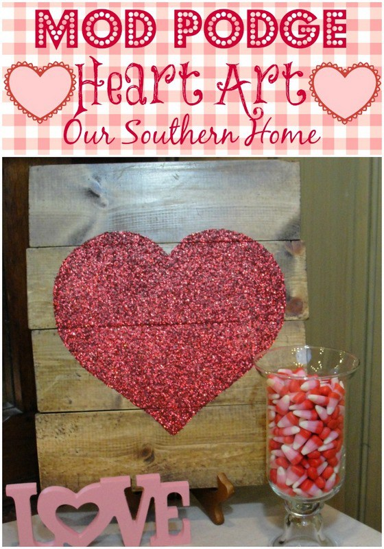 Gorgeous glitter heart with Mod Podge to add to your Valentine's Decor!