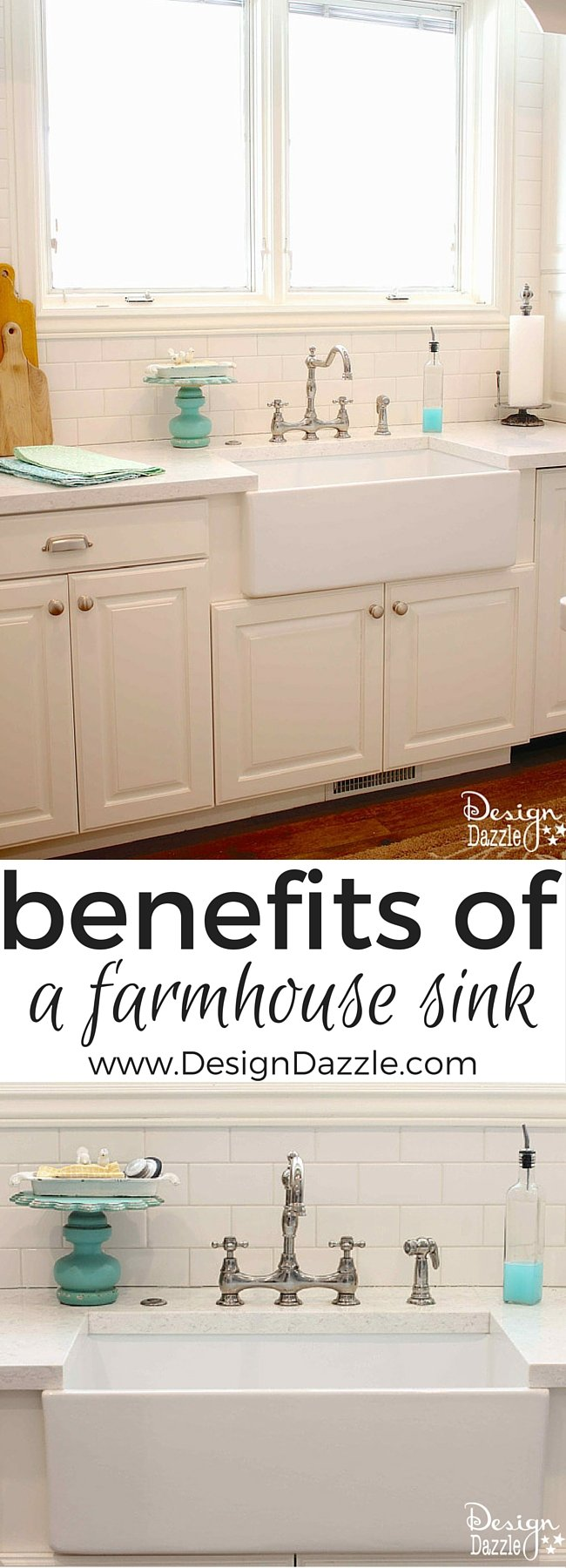 Benefits of a Farmhouse Sink - what about depth, stain resistant, chipping, installation? Find out the details at www.DesignDazzle.com