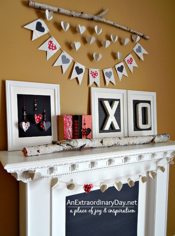 Valentine Mantel Display that SO beautiful, easy, and a DIY project!!