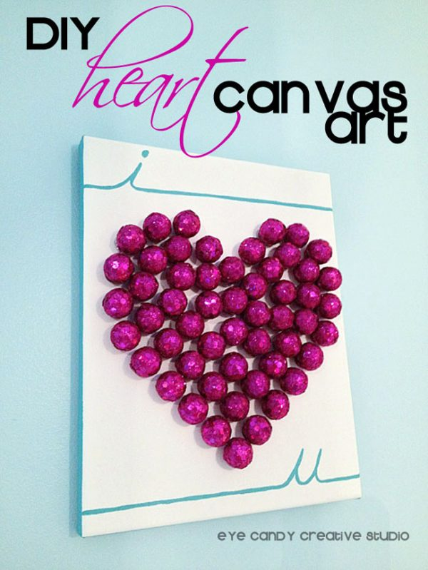 Glam Heart Canvas Art that adds the perfect amount of bling to you Valentine's Day Decor.