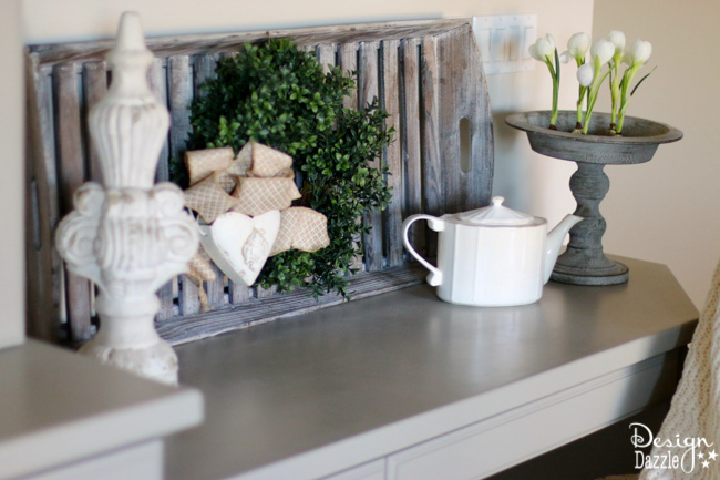 Love the decorating details for my China Cabinet and built-in desk. Design Dazzle